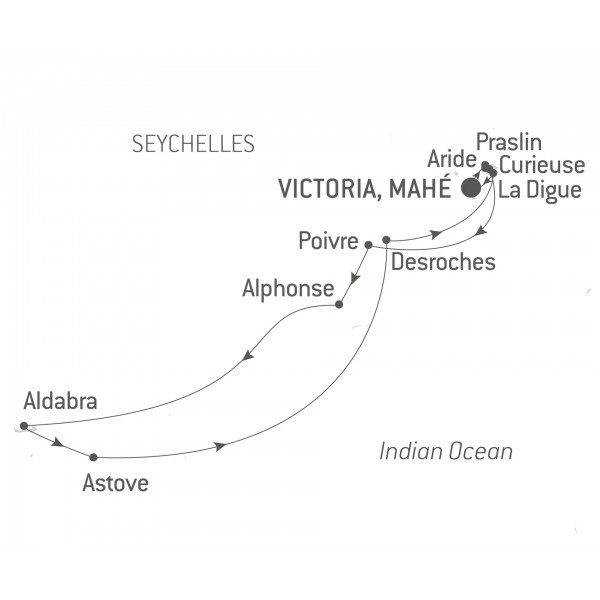 Map for The Seychelles and Aldabra Atoll