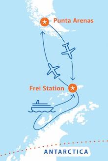 Map for Classic Antarctica Air-Cruise (Magellan Explorer)