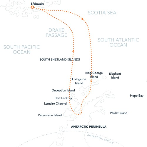 Map for The Antarctic Peninsula Express (Hebridean Sky)
