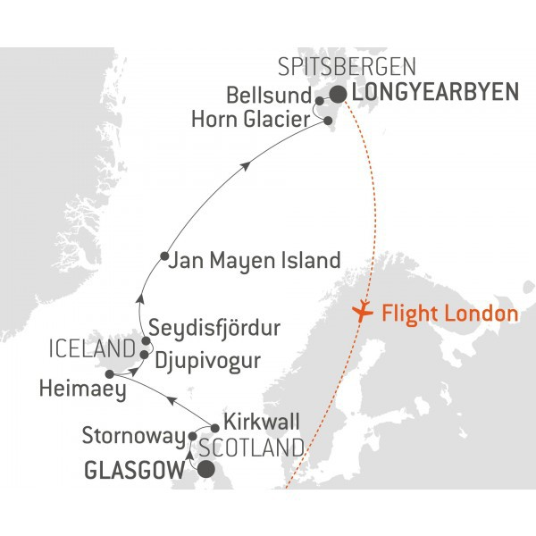 Map for From the Norwegian Sea to Spitsbergen - with Nat Geo
