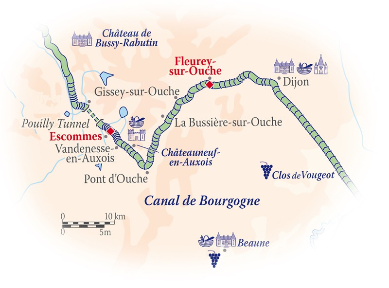 Map for Southern Burgundy Cruise (L'impressionniste)
