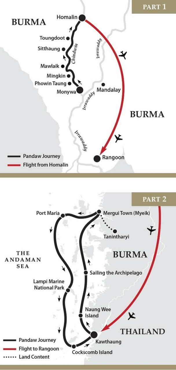 Map for Chindwin & Mergui Archipelago