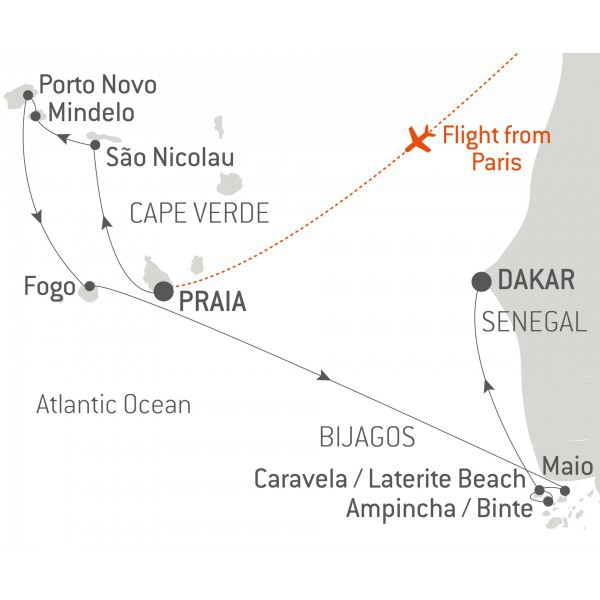Map for The Bijagos Archipelago and Cape Verde - with Nat Geo