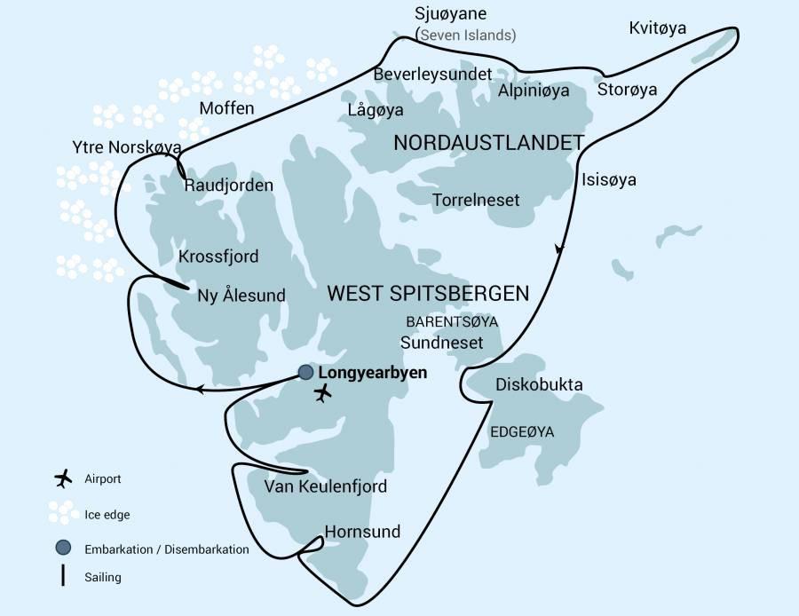 Map for Around Spitsbergen - Kvitoya 2019 (Hondius)