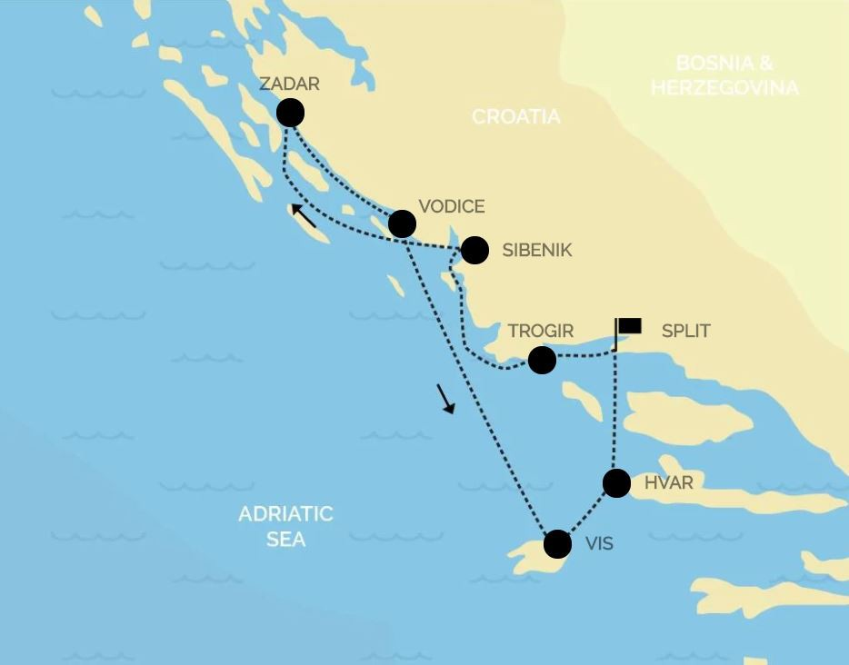 Map for Croatia Luxury Cruise North: from Split to Split