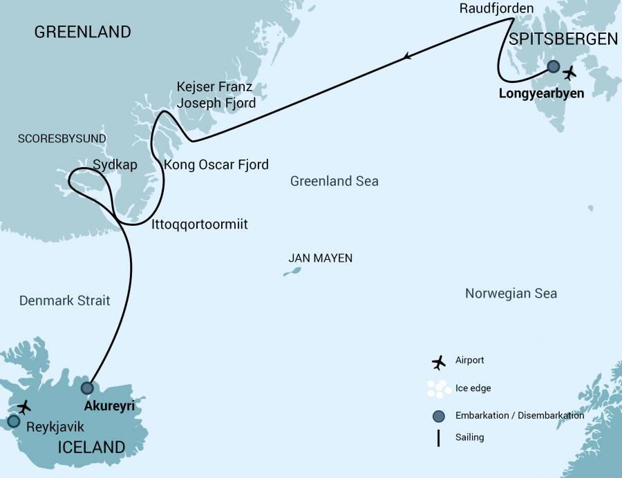 Map for Spitsbergen - Northeast Greenland, Aurora Borealis 2019 (Plancius)