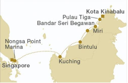 Map for Borneo Westbound (Star Clipper)
