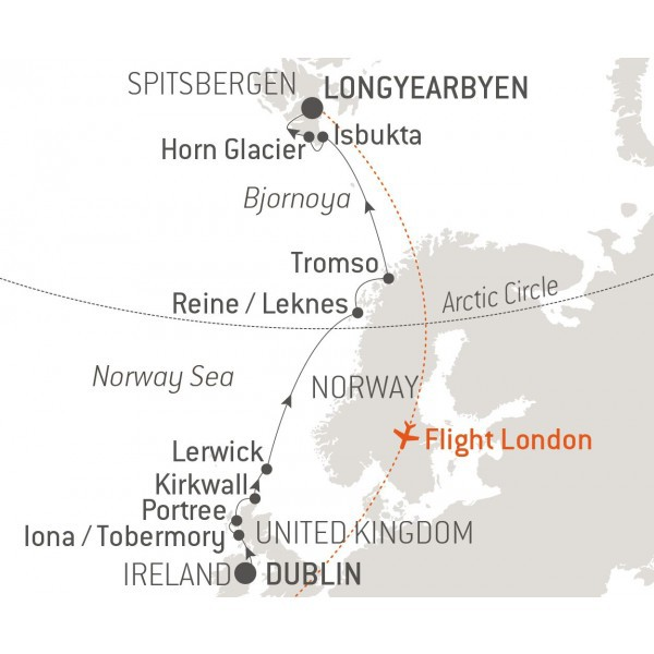 Map for From Scotland to Spitsbergen - with Nat Geo