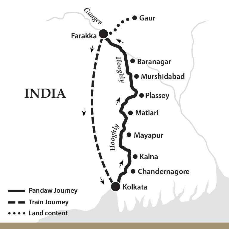 Map for The Lower Ganges River Cruise (Upstream)