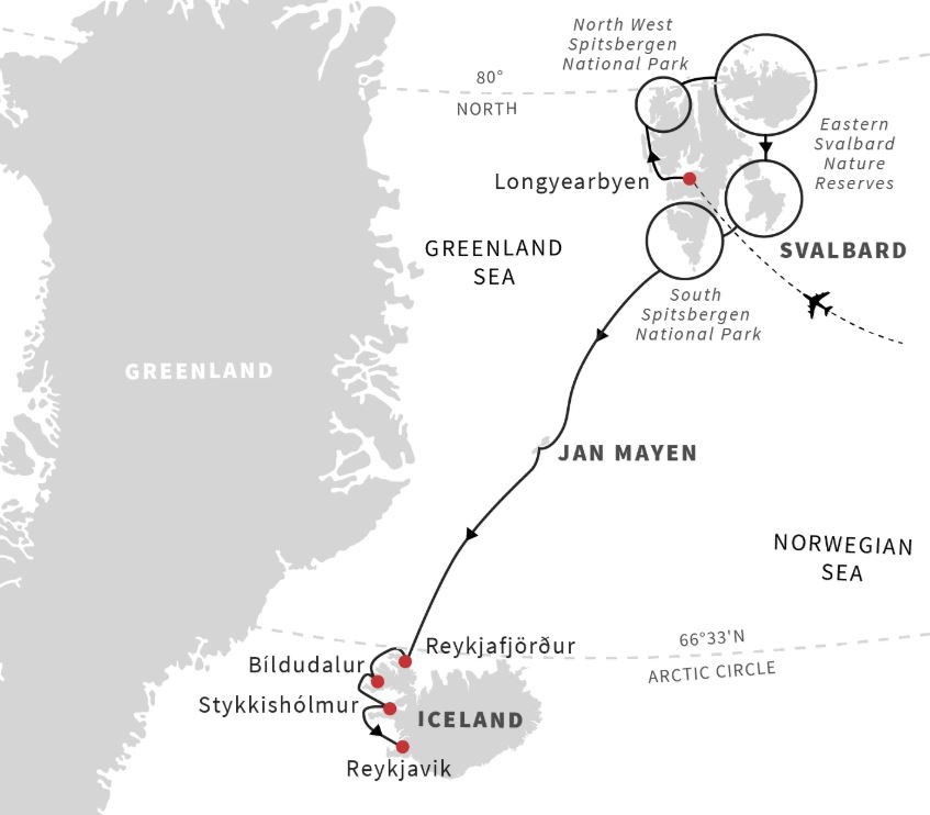 Map for Svalbard, Jan Mayen & Iceland Exploration