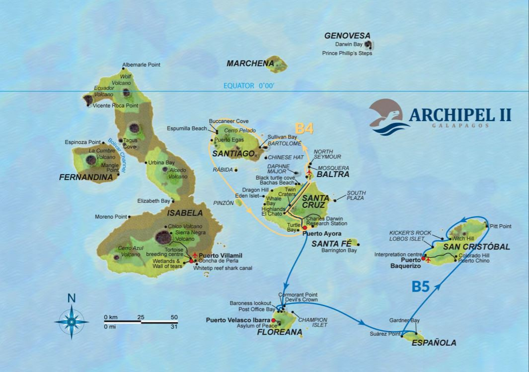 Map for Galapagos 8 Day Cruise Itinerary B (Archipel II)