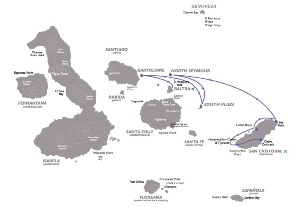 Map for Galapagos East Cruise C (Galapagos Legend)