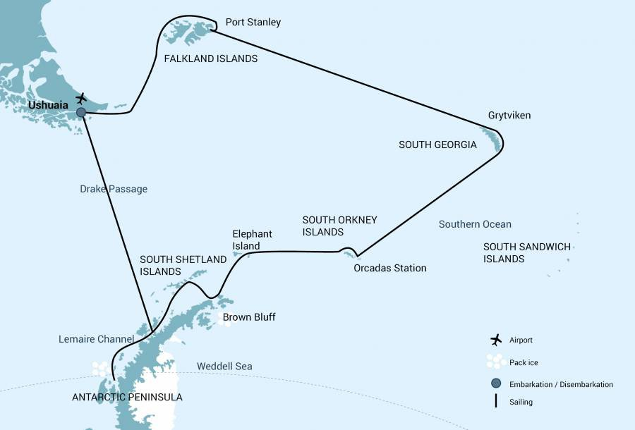 Map for Falklands - South Georgia - Elephant Island - Antarctic Circle