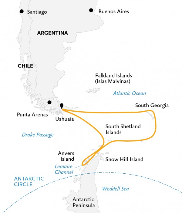 Map for South Georgia and Antarctic Peninsula: Penguin Safari
