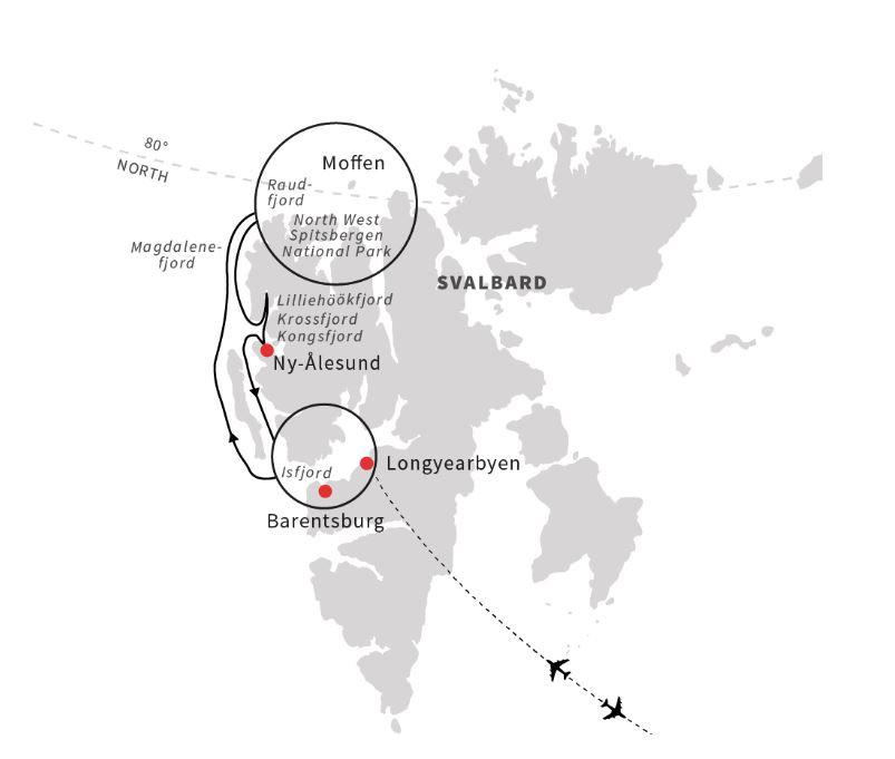 Map for Spitsbergen and Polar Bears - An Arctic Adventure (A)