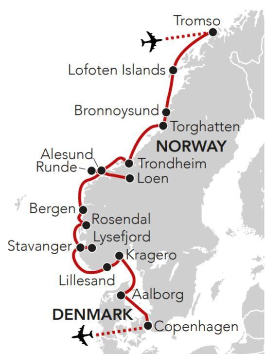 Map for Norwegian Coastal Odyssey