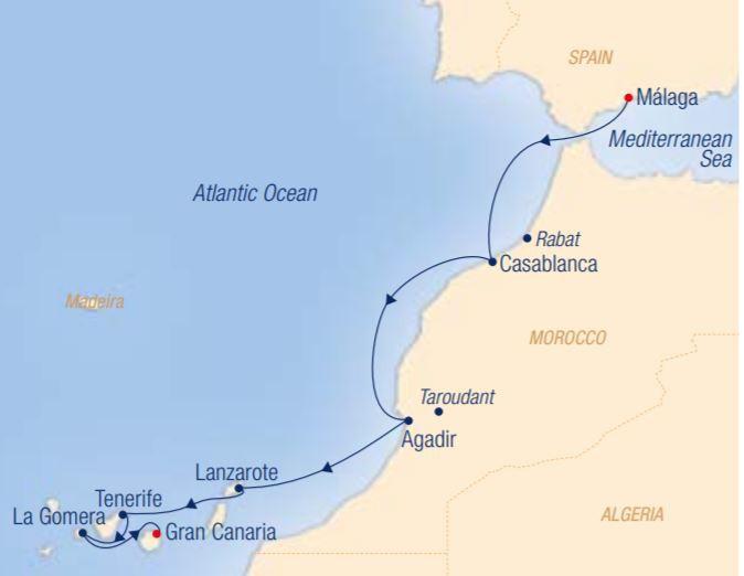 Map for The Magic of the Orient: Málaga – Las Palmas