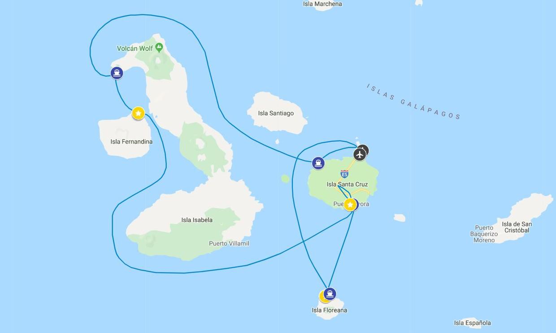 Map for Western Galápagos (Santa Cruz ll)