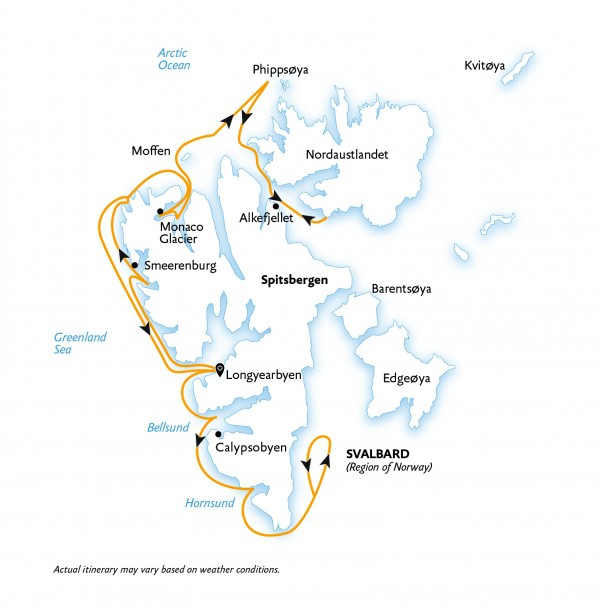 Map for Spitsbergen - Wildlife Capital of the Arctic