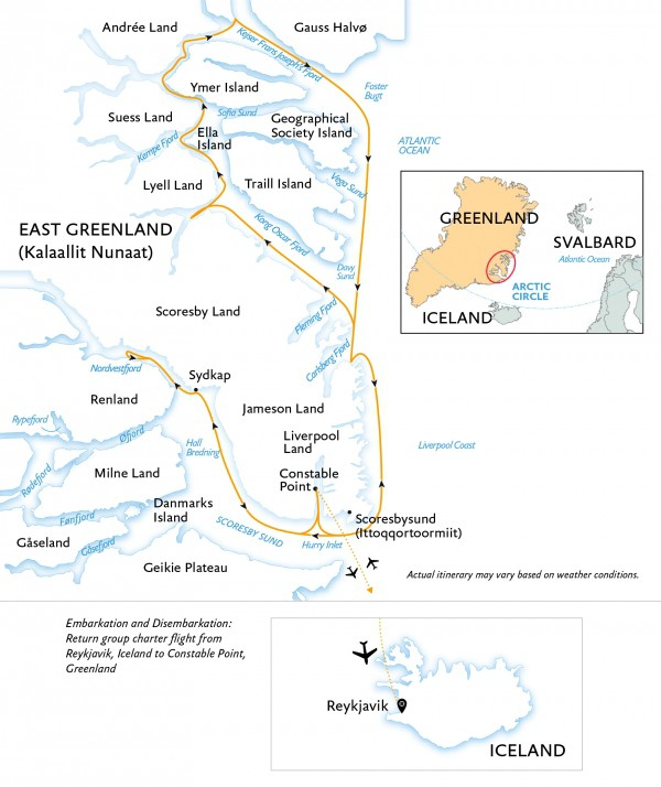 Map for Arctic Express: Greenland's North Lights
