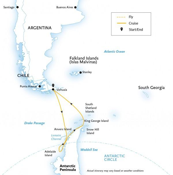Map for Crossing the Antarctic Circle (Ocean Diamond)
