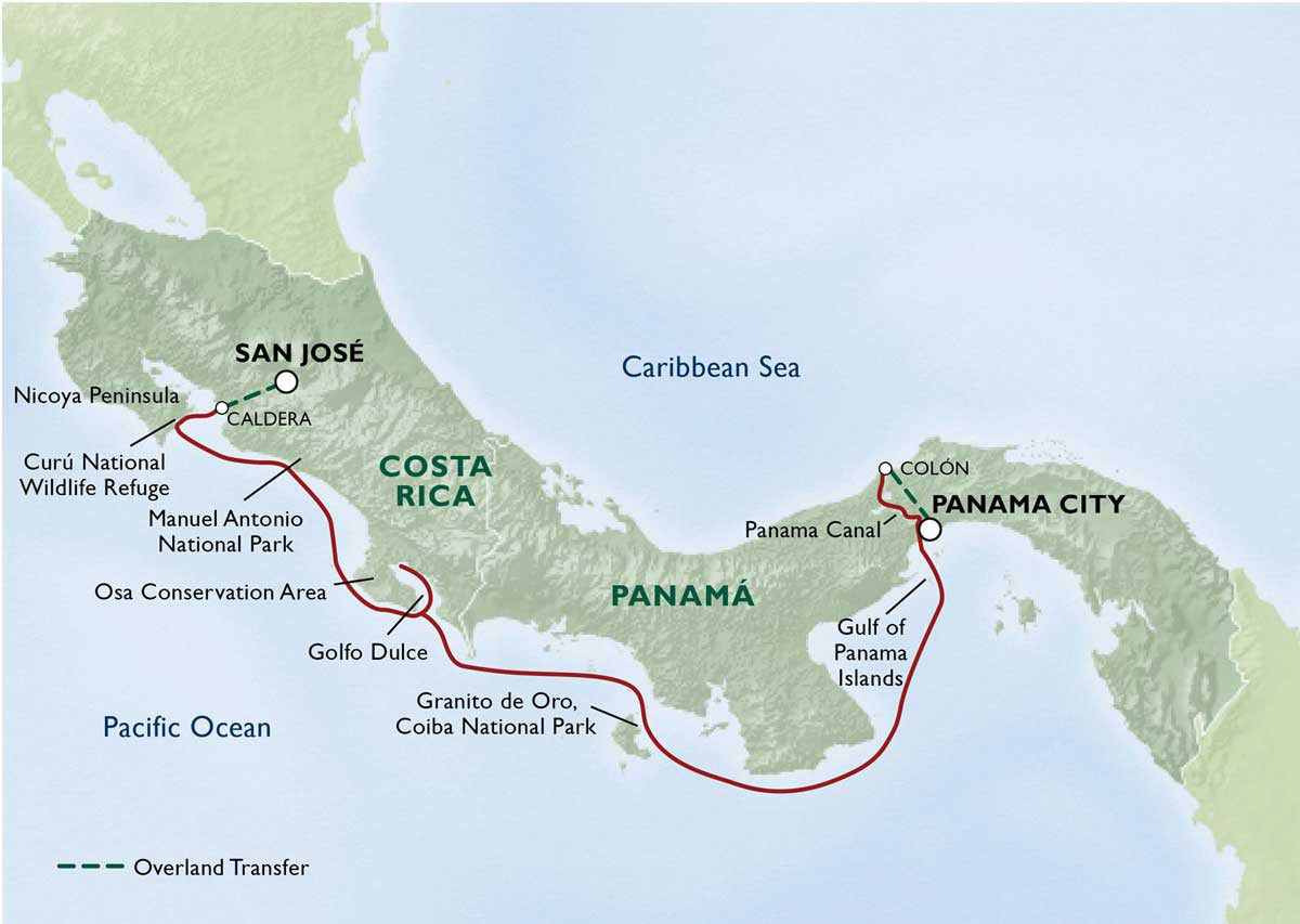 Map for Unveiled Wonders of Costa Rica & Panamá