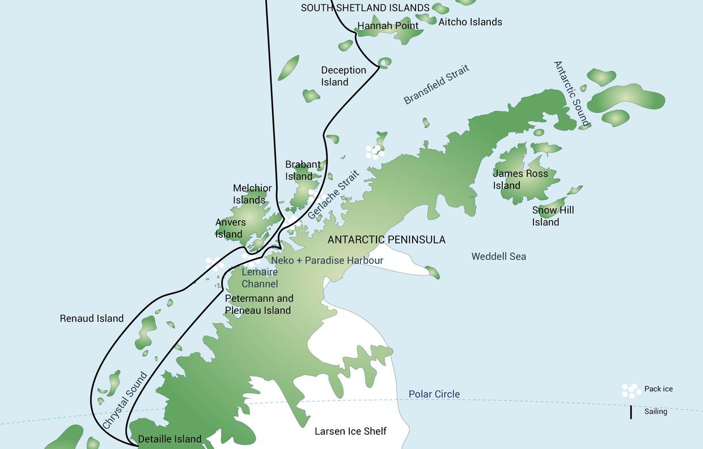 Map for Polar Circle - Antarctic Peninsula