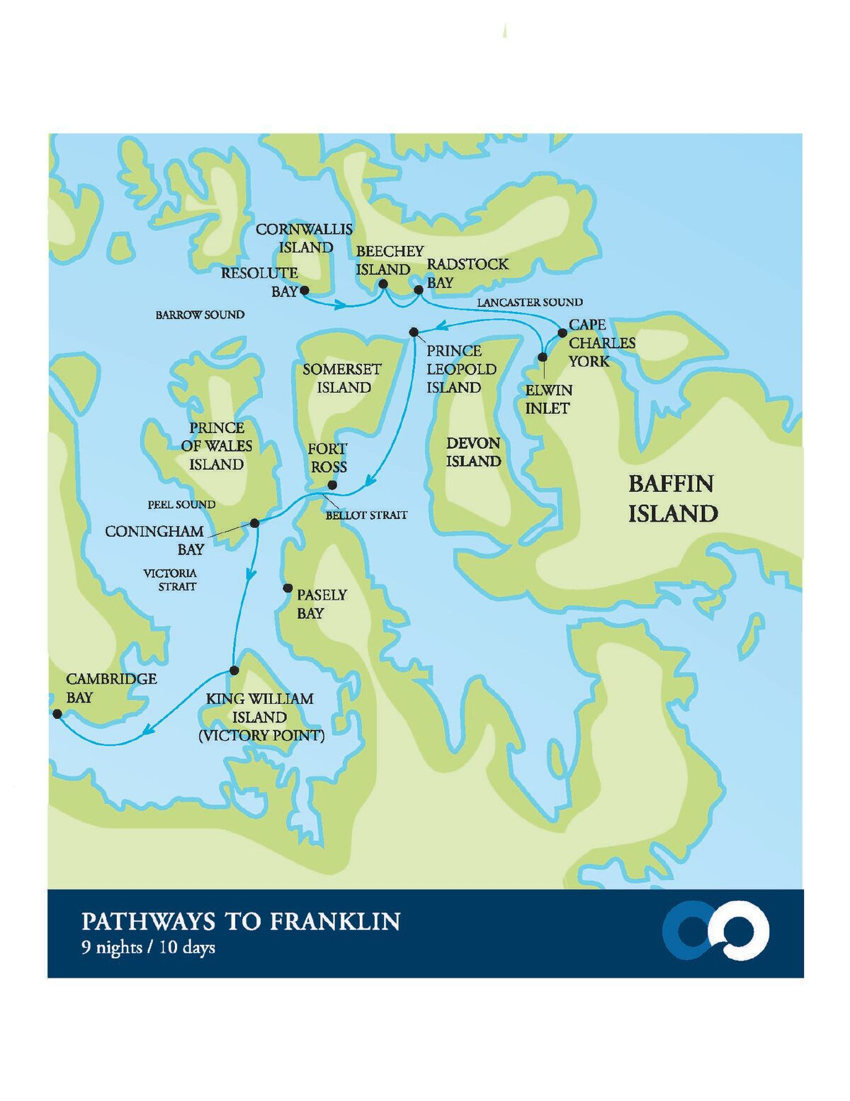 Map for Pathways to Franklin (Akademik Ioffe)