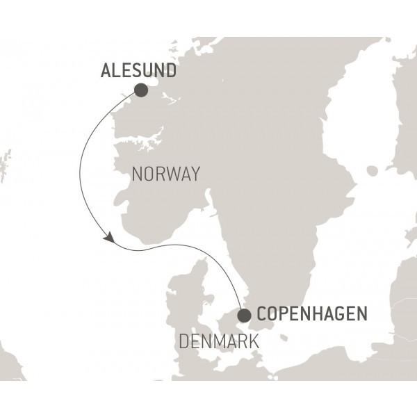 Map for Ocean Voyage: Alesund - Copenhagen