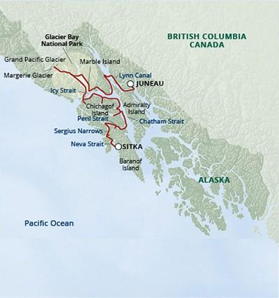 Map for Northern Passages & Glacier Bay (Wilderness Adventurer)