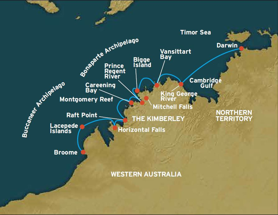 Map for The Kimberley: Broome to Darwin (Coral Adventurer)