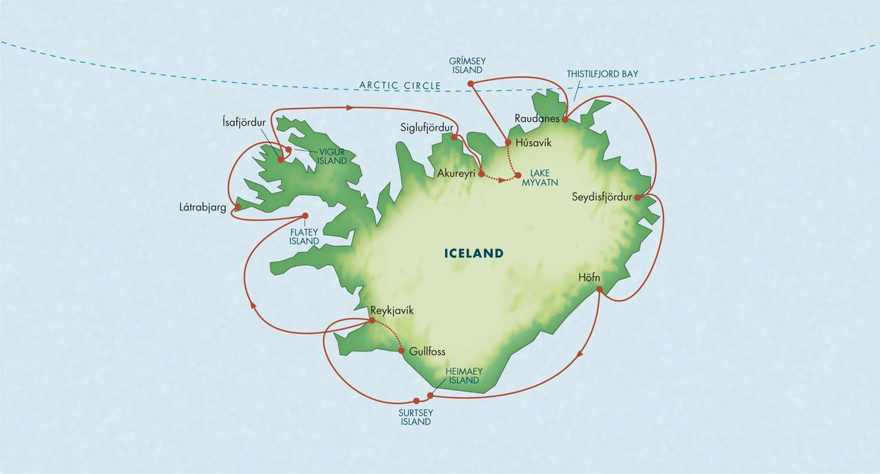 Map for Circumnavigation of Iceland (Le Bellot)