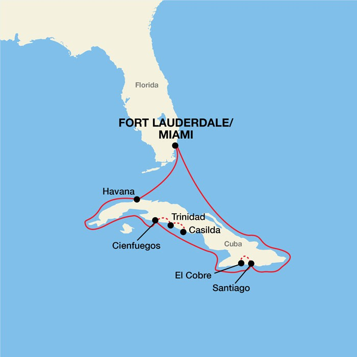 Map for Cuba Cultural Voyage