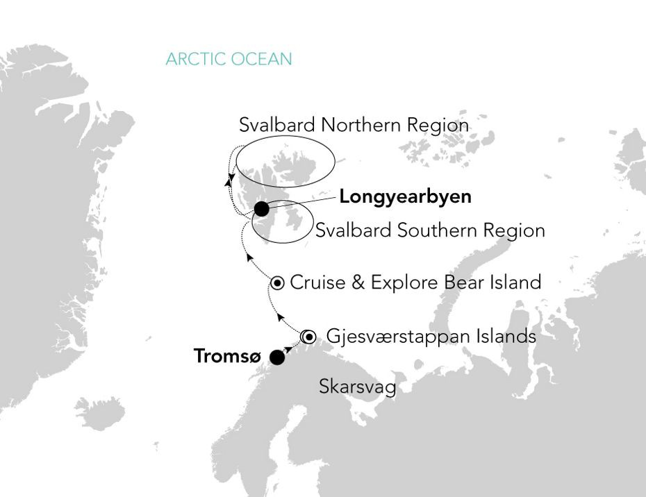 Map for From Northern Norway to the Fjords of Svalbard