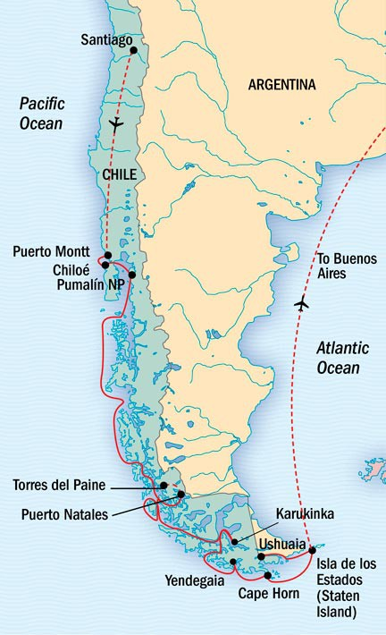 Map for Rounding the Cape: Patagonia & Staten Island