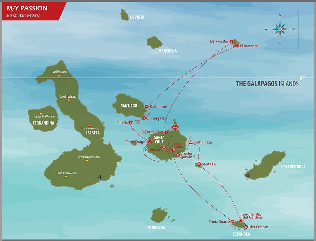 Map for Eastern Galapagos Islands in Luxury