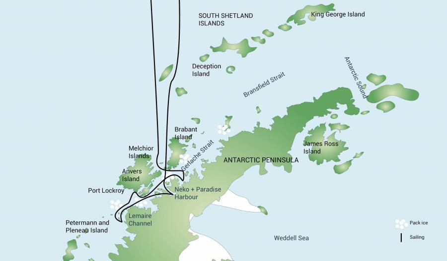 Map for Antarctic Peninsula - Whale Watching Voyage (Plancius)