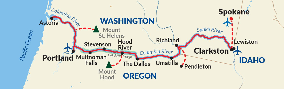 Map for Northwest Pioneers Cruise