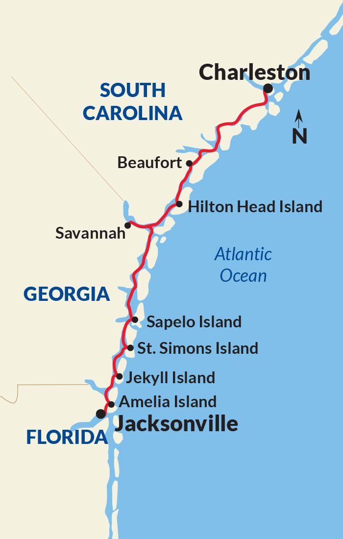 Map for Historic South and Golden Isles Adventure