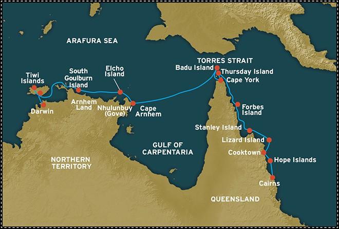 Map for Cape York and Arnhem Land (Coral Discoverer)