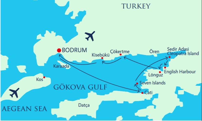 Map for Gokova Gulf Luxury Gulet Cruise