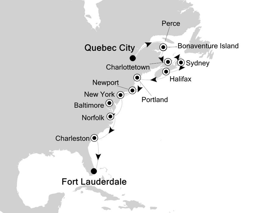 Map for Down the East Coast of North America