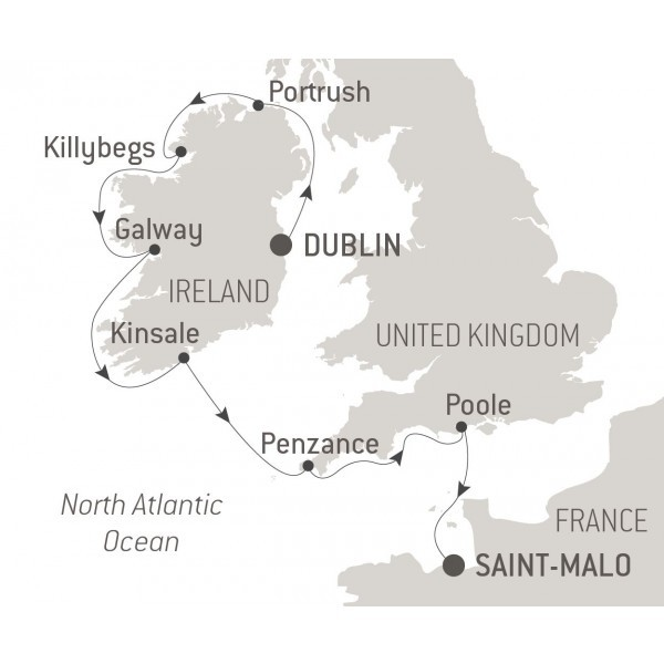 Map for Ireland, Cornwall and Dorset
