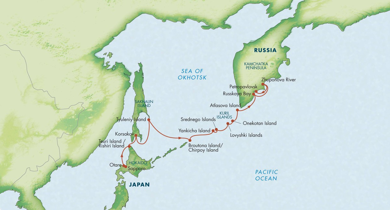 Map for Wild Kamchatka with the Kuril Islands