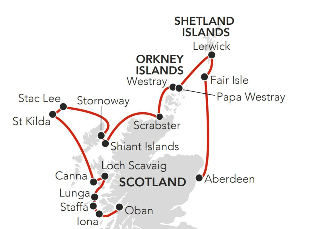 Map for Scotland in Summer