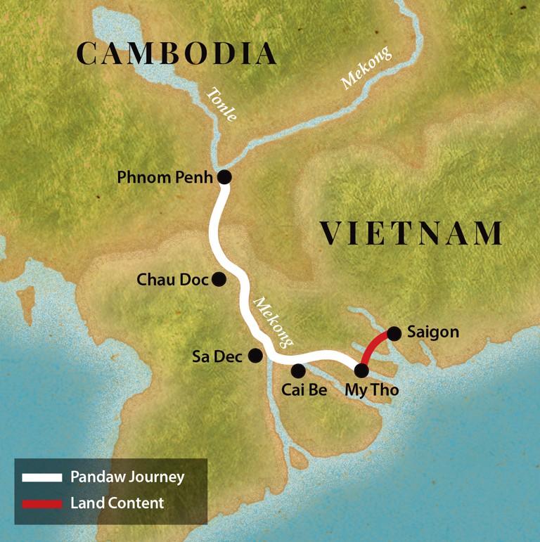 Map for Saigon & Phnom Penh - Downstream (Tonle Pandaw)
