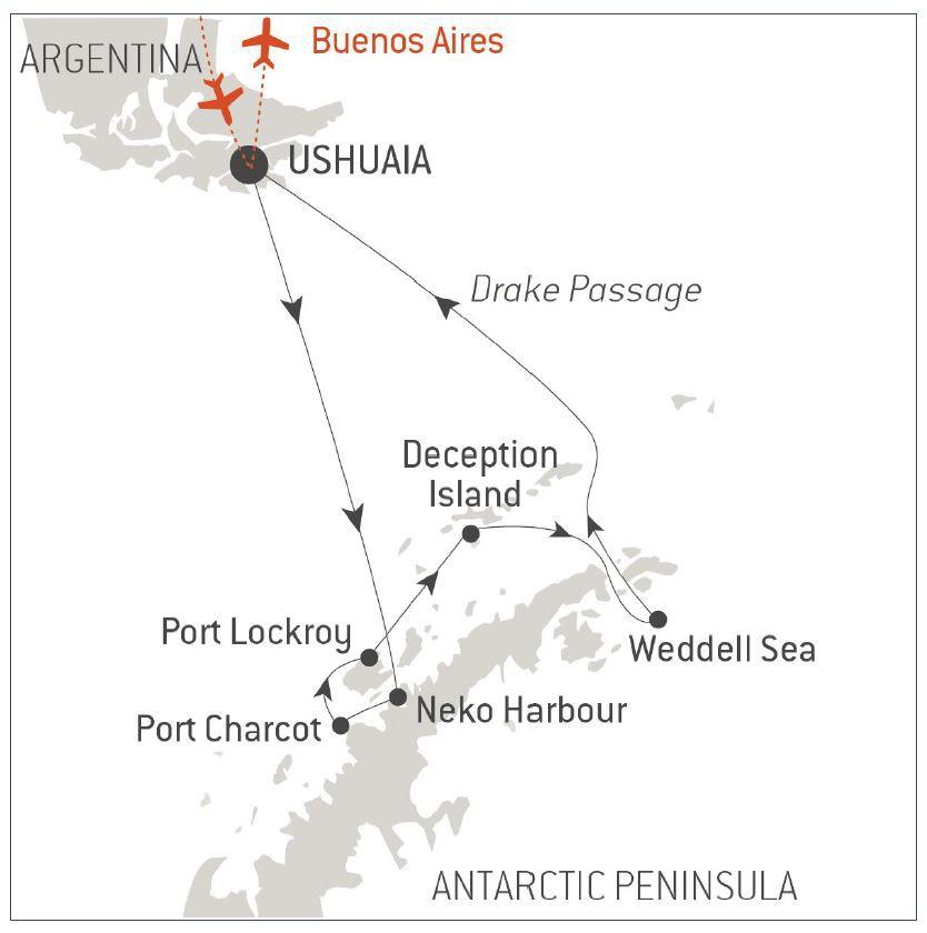 Map for Emblematic Antarctica 2019-2020 (Le Boreal)