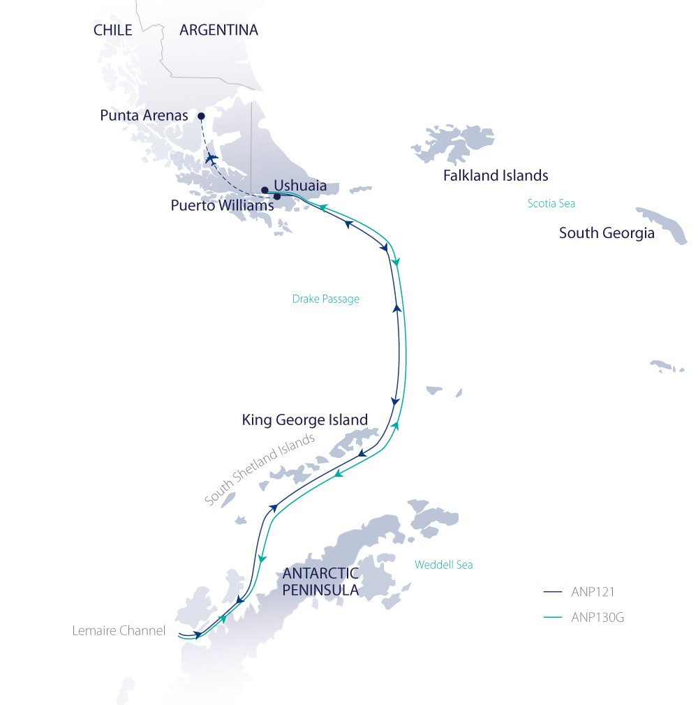 Map for Christmas in Antarctica 2019 (Greg Mortimer)