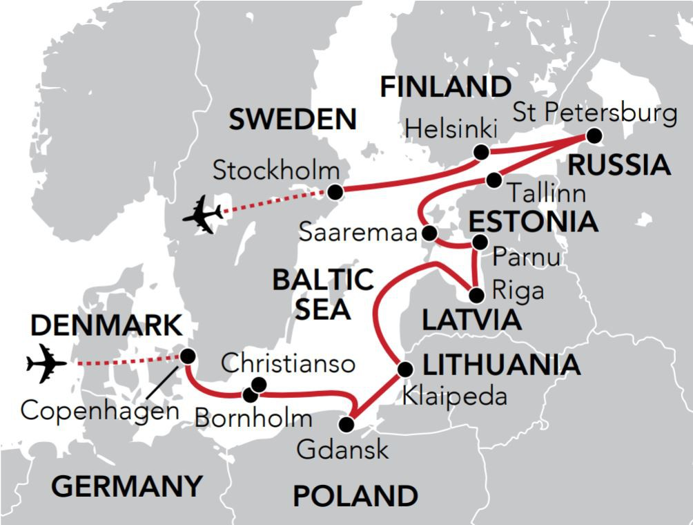 Map for Summer in the Islands and Cities of the Baltic