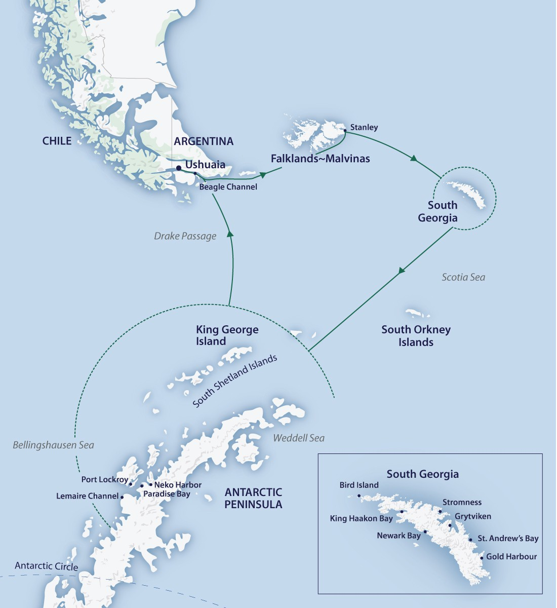 Map for Christmas in Antarctica 2020 (Greg Mortimer)
